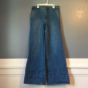 Free People wide leg flare jeans relaxed fit